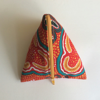 Make up bag, Aboriginal art fabric, triangular pyramid, multi use