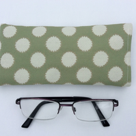 Sunglasses, glasses case, sage green with cream spots