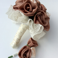 Bride's bouquet, groom's buttonhole, rose gold, blush pink, handmade roses
