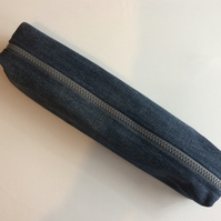 Extra Long Pencil Case, Recycled Denim, Pencils, Paintbrushes, Tools