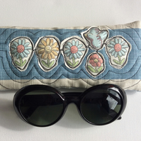 Glasses, sunglasses case, unique appliqué design