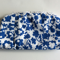Make up bag,  cosmetics bag, blue and white, button fastening.