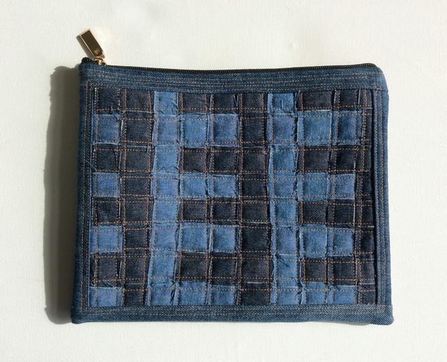 Zipped, recycled denim clutch, handbag,