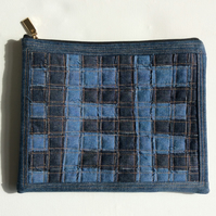 Zipped recycled denim clutch, handbag,