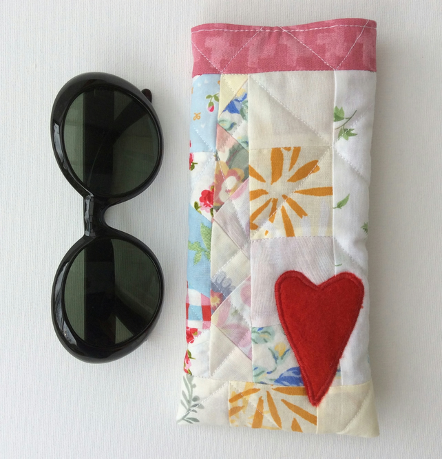 Glasses, sunglasses case, crazy patchwork, heart