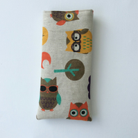 Glasses case, sunglasses case, owls, hearts