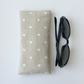 Glasses, sunglasses soft case, beige with white hearts