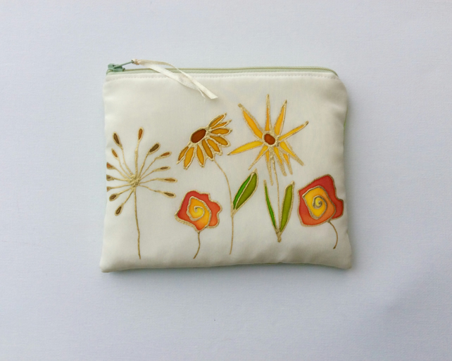Make up bag, original art, original silk painted design, flowers
