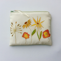 Original hand painting  on silk, Make up bag, flowers