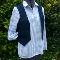 Shabby Chic sleeveless denim, patchwork jacket, waistcoat