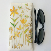 Hand painted original design on silk, glasses case, sunglasses case