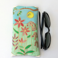 Hand painted original design on silk Sunglasses, glasses case