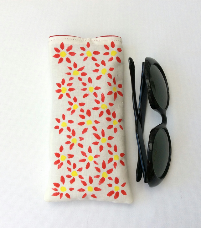 Glasses case, sunglasses case, phone sleeve, hand painted on cotton