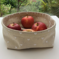 Fabric bowl, basket, multi purpose storage, beige, small white hearts.