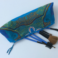 Make up bag, cosmetics, zipped pouch, phone case, Australian art