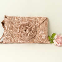 Clutch, wedding, special occasion, peach lace, rose gold, mother of the bride