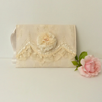 Shabby chic wedding clutch, wristlet bag, cream lace
