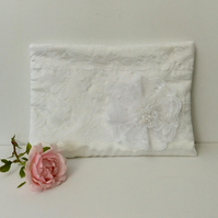 Large White zipped clutch, wristlet bag, lace, Wedding, special occasion