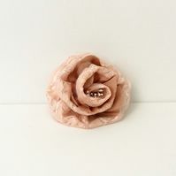 Rose, Hair accessory, corsage, peach lace, rose gold satin, peach net