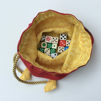 Large Drawstring  bag, gamer's dice bag, red and gold, jewellery pouch