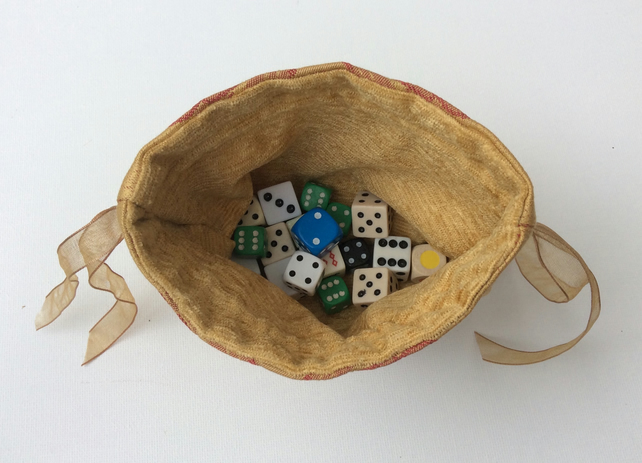 Drawstring  bag, gamer's dice bag, jewellery pouch, red on gold