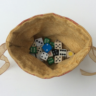 Drawstring dice bag, gamer's bag, red on gold