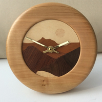 Clock, Hand Cut Wood Veneered Face and Lathe Turned Surround