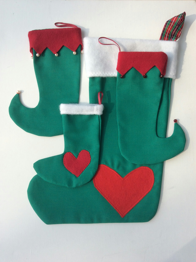 Set of four Christmas Stockings, Christmas decorations, green