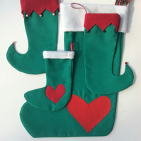 Set of five Christmas Stockings, Christmas decorations, green