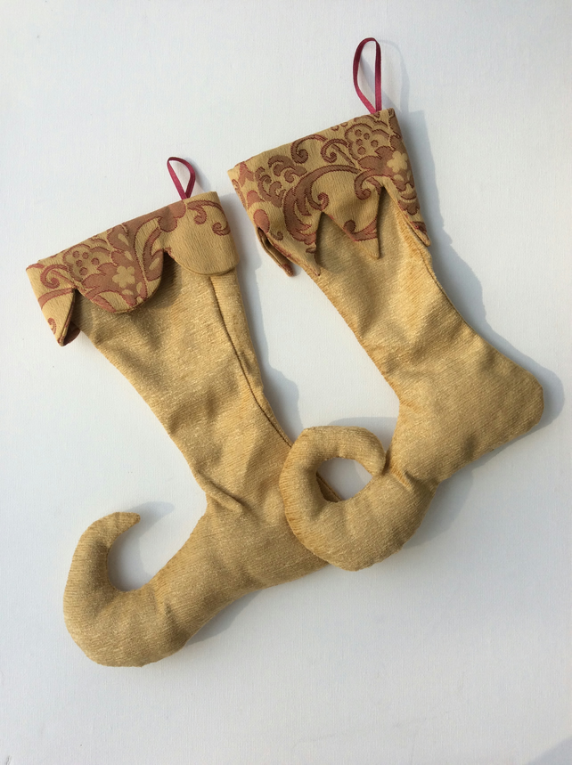 Two Gold fabric, Christmas Stocking Decorations, Elf Boots
