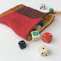 Drawstring bag, gamer's dice bag, red and gold, reversible, gift bag, pouch