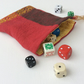 Drawstring dice bag, gamer's bag, red and gold, reversible, gift bag, pouch