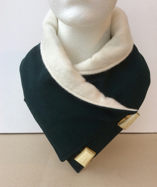 Neck warmer, snood, scarf, cowl, dark bottle green, vintage buttons