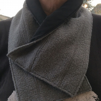 Neck warmer, snood, cowl, scarf, grey textured woollen fabric