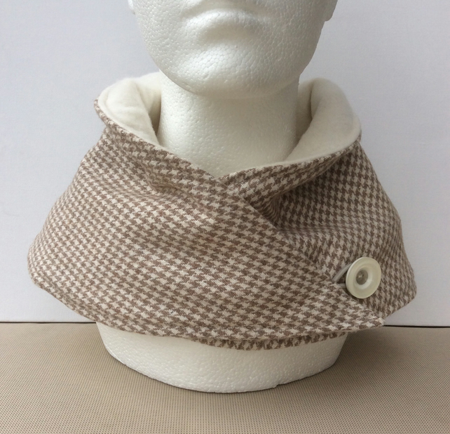 Neck warmer, snood, cowl, scarf, beige and cream dogtooth check