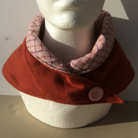 Neck warmer, tweed, scarf, snood, cowl, red-brown