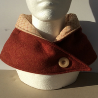 Neck warmer, scarf, snood, cowl, brick red tweed fabric