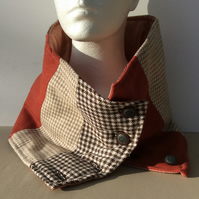 Men's or women's unique tweed, rectangular neck warmer, snood, scarf, cowl.