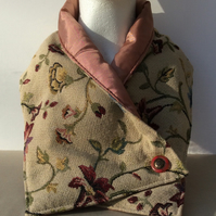 Neck warmer, rectangular, floral tapestry style fabric, scarf, snood, cowl