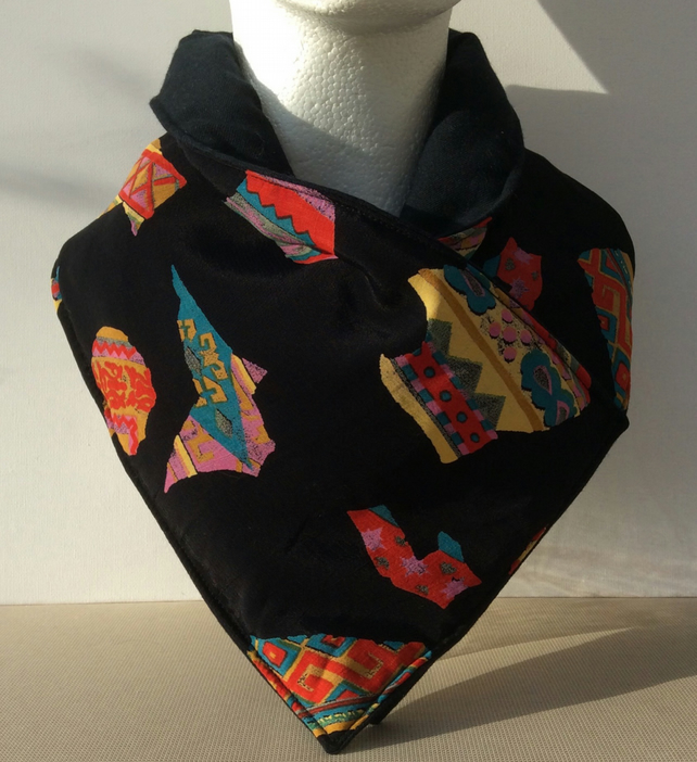 Reversible neck warmer, black, multicoloured