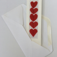 Valentine's Day Card, red felt hearts, keepsake bookmark