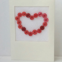 Valentine's Day Card, red button heart, white card,