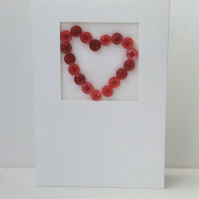 Valentine's Day Card, Red Button heart, white Card