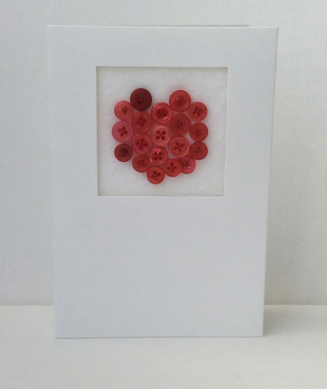 Valentine's Day Card, Red Button filled heart, white Card
