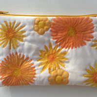 Make up bag, zipped bag for cosmetics, hand drawn pattern