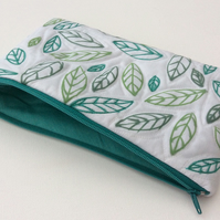 Make up bag, zipped bag for cosmetics, hand drawn pattern, leaves