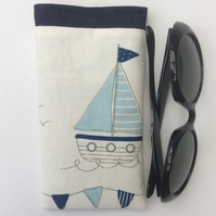 Sunglasses case, glasses case, blue and white boat and bunting