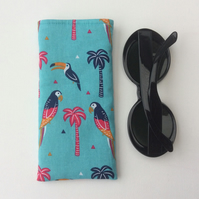 Glasses case, sunglasses soft case, fun bird fabric, felt lining