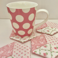 Set of four coasters, mug rugs, floral fabric, pink