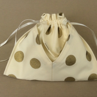 Drawstring bag, cream with gold spot